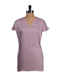 Mauve V-neck Pleated Tunic - Femella
