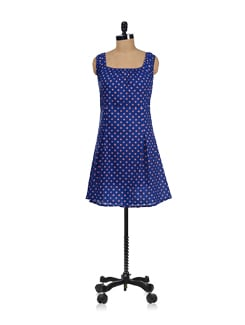 Polka Dotted Blue Dress - Ayaany