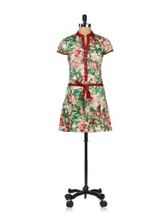 Floral Bloom Belted Tunic - Ayaany