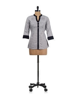 Black And Grey Tie Up Tunic - Ayaany