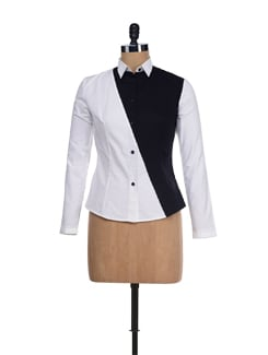 White Shirt With Diagonal Panel - I KNOW By Timsy & Siddhartha