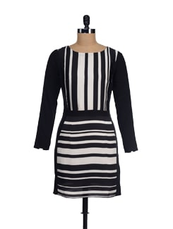 Black & White Striped Hourglass Dress - I KNOW By Timsy & Siddhartha