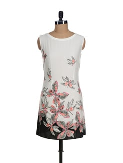 Butterfly Print Back Keyhole Dress - I KNOW By Timsy & Siddhartha