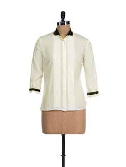 Classic Cream & Black Pleated Top - I KNOW By Timsy & Siddhartha