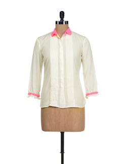 Cream & Neon Pink Pleated Top - I KNOW By Timsy & Siddhartha