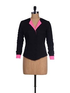 Stylish Black Top With Pink Lapel - I KNOW By Timsy & Siddhartha