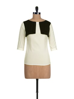 White & Black Falling Yoke Top - I KNOW By Timsy & Siddhartha