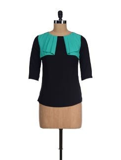 Black & Green Falling Yoke Top - I KNOW By Timsy & Siddhartha