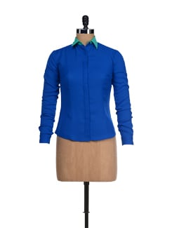 Stylish Blue Shirt With Green Collar - I KNOW By Timsy & Siddhartha