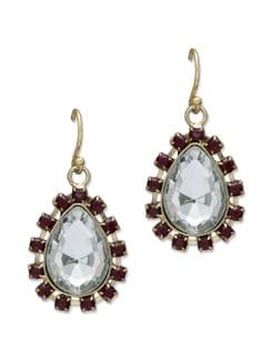 Red & Gold Crystal Drop Earrings - Trinketbag