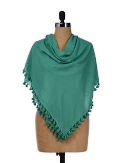 Green Scarf With Pom-poms - Story Of Weaves
