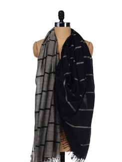 Grey Striped Scarf - Story Of Weaves