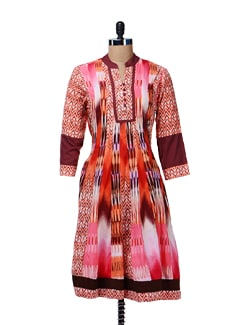 Printed Kalidar Suit - Rain And Rainbow
