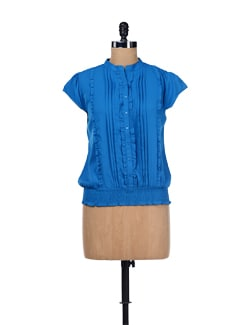 Blue Pleated Top - ESCA