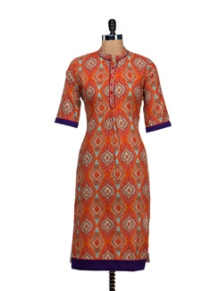 Bright Orange Printed Kurta - VINTAGE EARTH