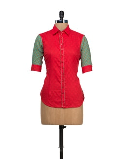 Quirky Shirt Style Kurti - VINTAGE EARTH