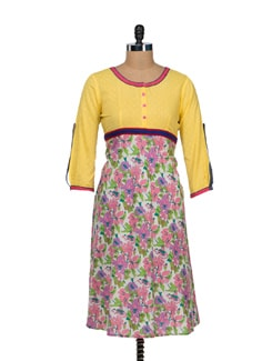 Bright Yellow Floral Print Anarkali - VINTAGE EARTH