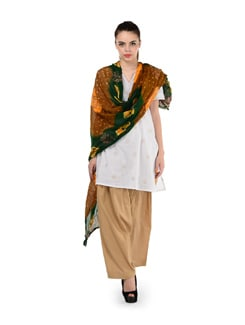 Beige Semi Patiala Salwar With Dupatta - MY COLORS