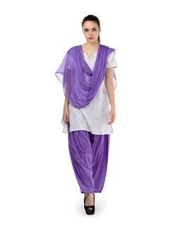 Purple Semi-patiala Salwar With Dupatta - MY COLORS