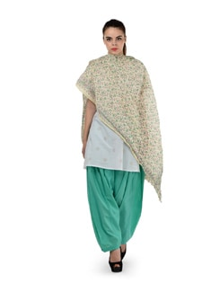 Mint Green Patiala With Printed Dupatta - MY COLORS