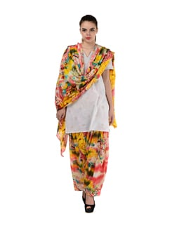 Multicoloured Printed Patiala Salwar & Dupatta - MY COLORS