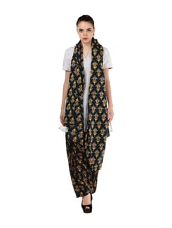 Black & Yellow Floral Patiala Salwar & Dupatta - MY COLORS