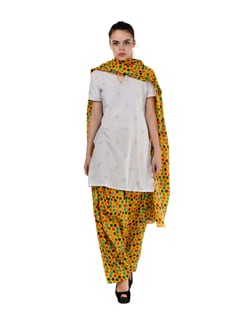 Yellow Polka Dotted Patiala Salwar With Dupatta - MY COLORS