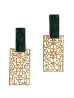 Stylish Gold & Green Rectangular Earrings - Addons
