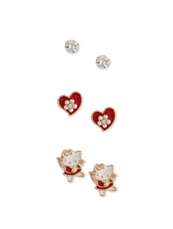 Quirky Red & Gold Earrings - Set Of 3 - Addons