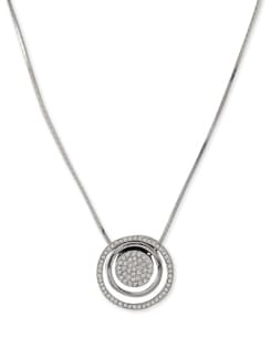 Silver Concentric Circles Pendant Necklace - Addons