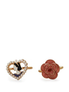 Pink Floral & Pearl Heart Rings - Set Of 2 - Addons
