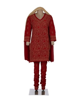 Red & Cream Chikankari Churidar Suit - Ada