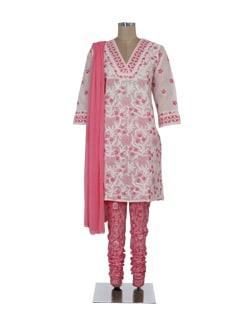 White & Pink Floral Chikankari Suit - Ada