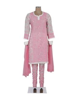 White & Pink Chikankari Churidar Suit - Ada