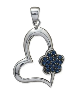 Silver & Blue Twisted Heart Pendant - Sparkling Deals