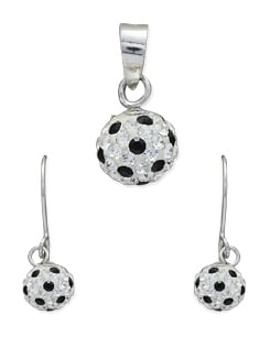 Black & Silver Ball-shaped Pendant Set - Sparkling Deals