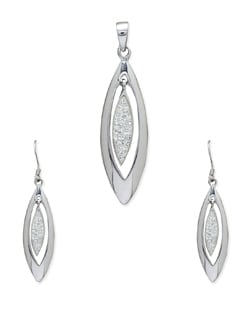 Silver Elongated Teardrop Pendant Set - Sparkling Deals