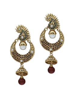 Golden Peacock Jhumkas - Sparkling Deals