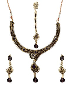 Traditional Gold & Purple Necklace Set - Sparkling Deals