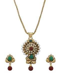 Elegant Gold Kundan Necklace Set - Sparkling Deals