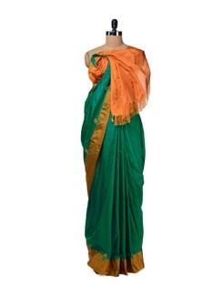 Elegant Green & Orange Uppada Silk Saree - Design Oasis By Manish Saksena