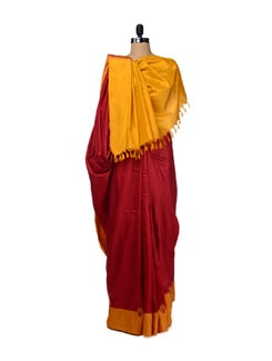 Elegant Red & Yellow Uppada Silk Saree - Design Oasis By Manish Saksena