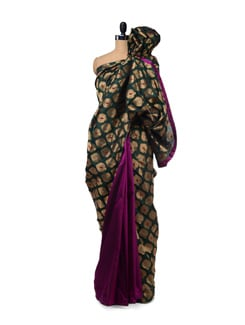 Green & Magenta Cotton Silk Brocade Saree - Design Oasis By Manish Saksena