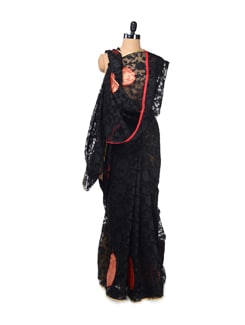Black Banarasi Silk Net Saree - Design Oasis By Manish Saksena