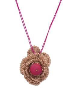Pink & Gold Floral Pendant Necklace - ALESSIA