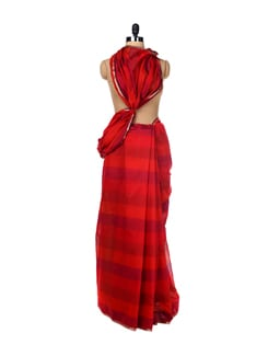 Red Stripes Print Saree - URBAN PARI