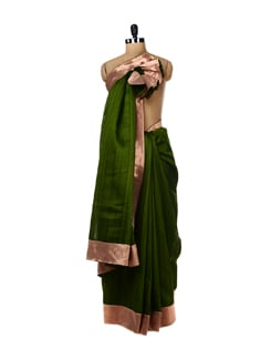 Olive Green Saree With Copper Banarasi Border - URBAN PARI