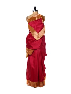 Pink Silk Saree With Banarasi Border - URBAN PARI