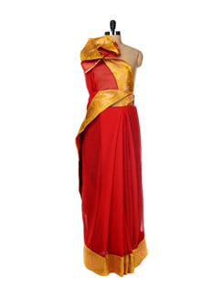Festive Red Cotton Saree - URBAN PARI