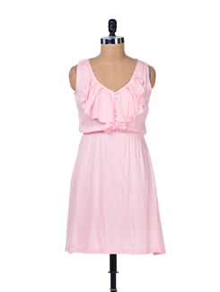 Powder Pink Ruffled Dress - Femella